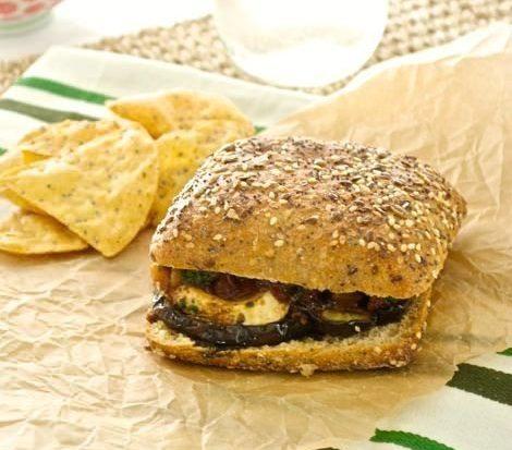 Roasted Eggplant Sandwich with Fresh Mozzarella, Tapenade, and Spinach Pesto