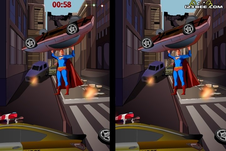 Spot the difference image of Superman
