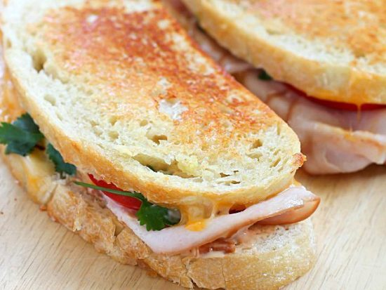 Crispy Grilled Turkey and Cheese Sandwich With Chipotle Mayo