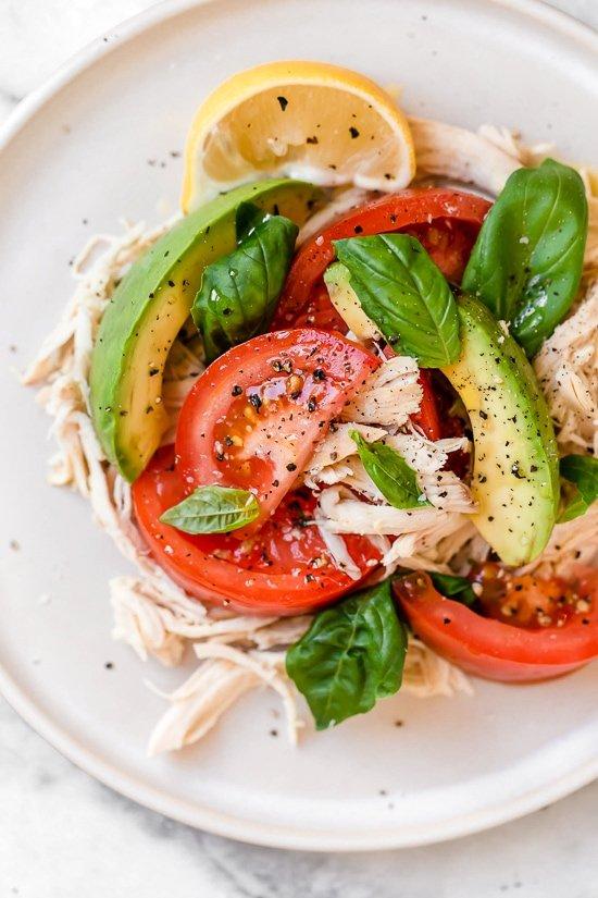 Basil Chicken Avocado   Tomato Salad 8
