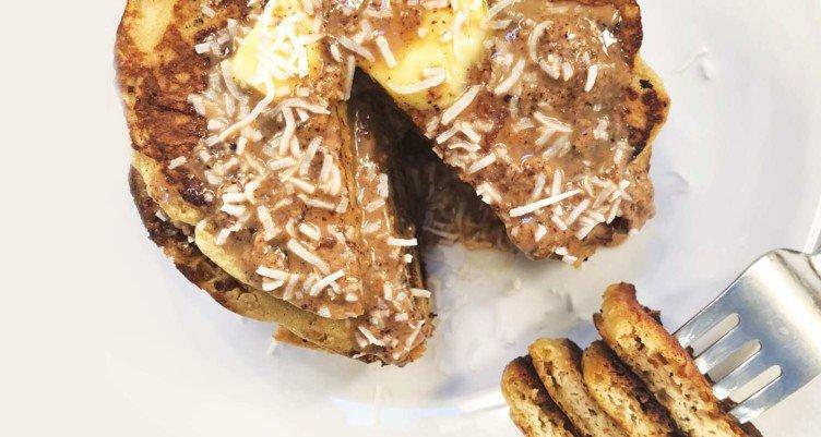 Fluffy Bulletproof Pancakes eating coconut