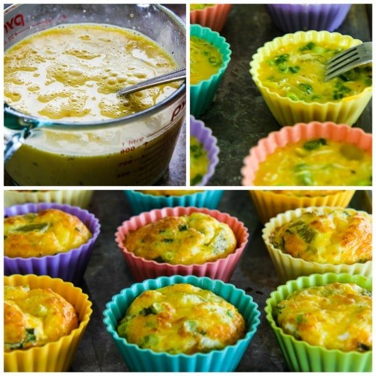 green chile cheese egg muffins collage2
