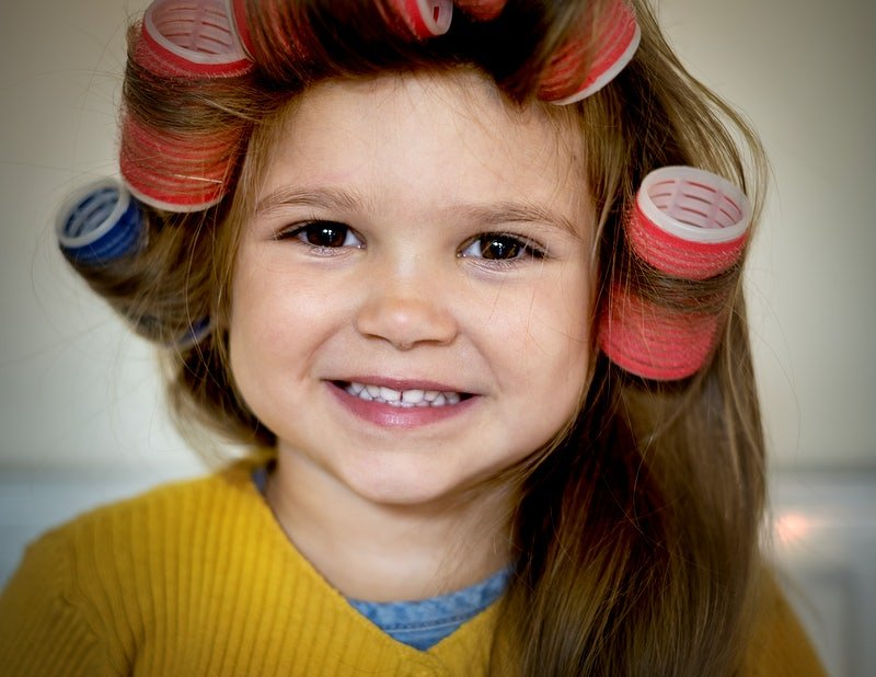 Crazy Hair styles for kids velcro rollers