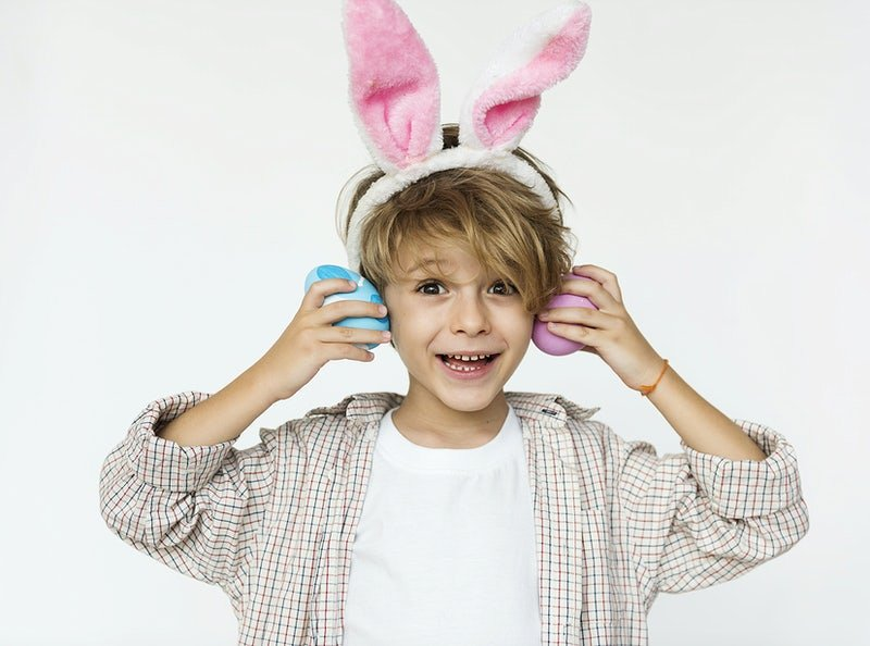 EASTER EGG BLONDE BOY WITH RABBIT EARS