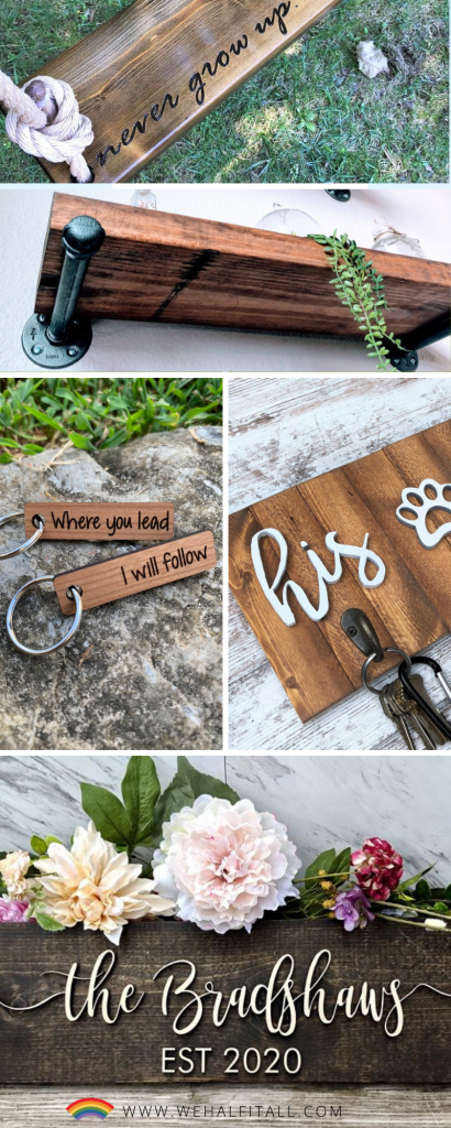 Love personalized woodwork and wooden craft gifts? Spark creative juices for the perfect homemade gift ideas for women, for him, Christmas, for kids, or even her anniversary. - Wooden gifts for men, gifts on etsy, diy, wood gift ideas for her, for guys, custom wood decor, homemade Etsy gifts, DIY Christmas, handmade, small wood gifts for family, creative, unique, wooden craft gifting ideas, perfect for baby, children, useful, unique, photos, creative wood gifts, #woodwork #giftideas #DIYgifts