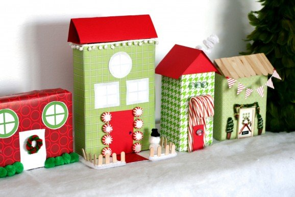 Christmas village made from cereal boxes