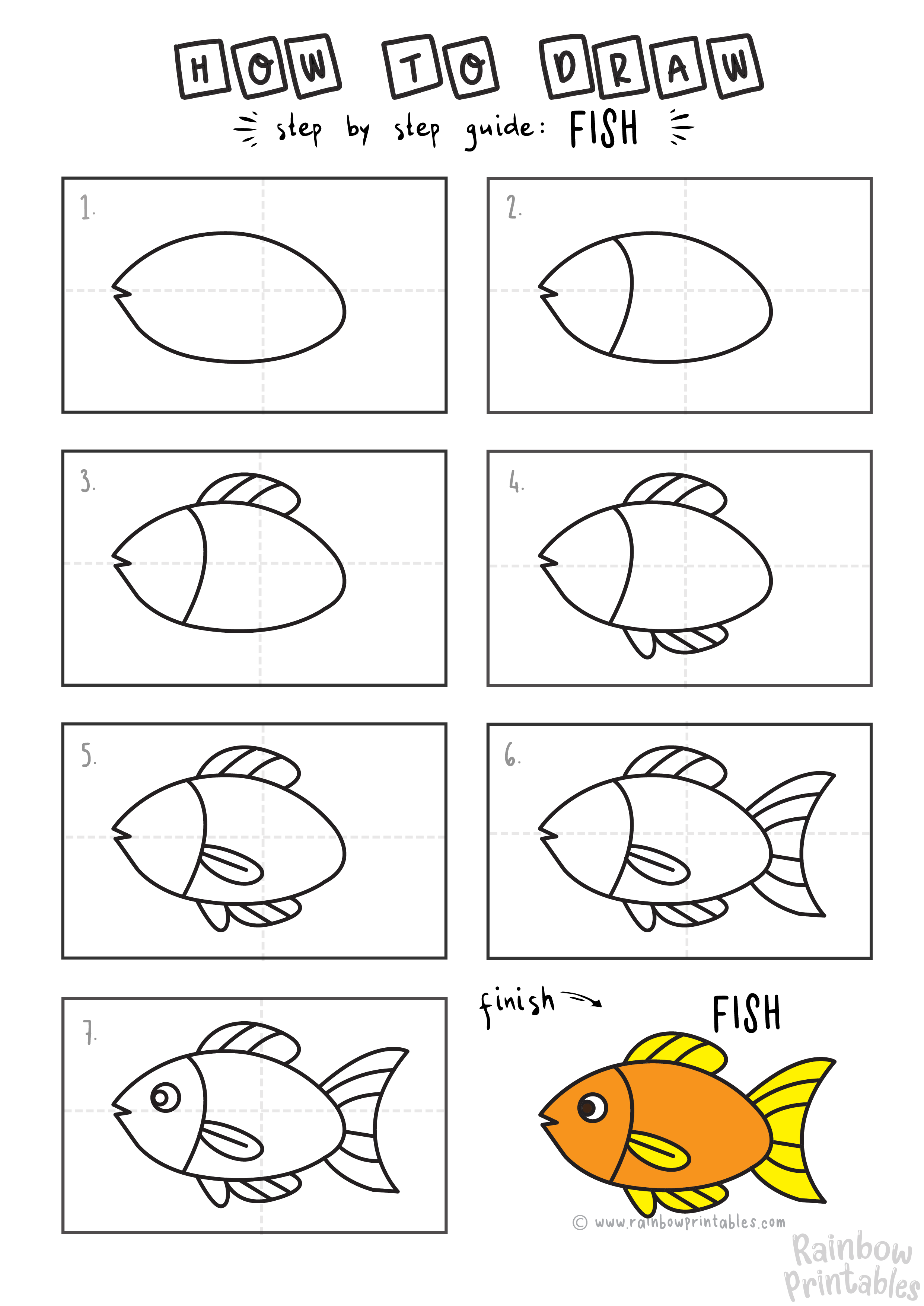How To Draw a Fish for Kids (Step by Step Tutorial), Free Art Drawing Lesson for Children on How to Doodle a Shark