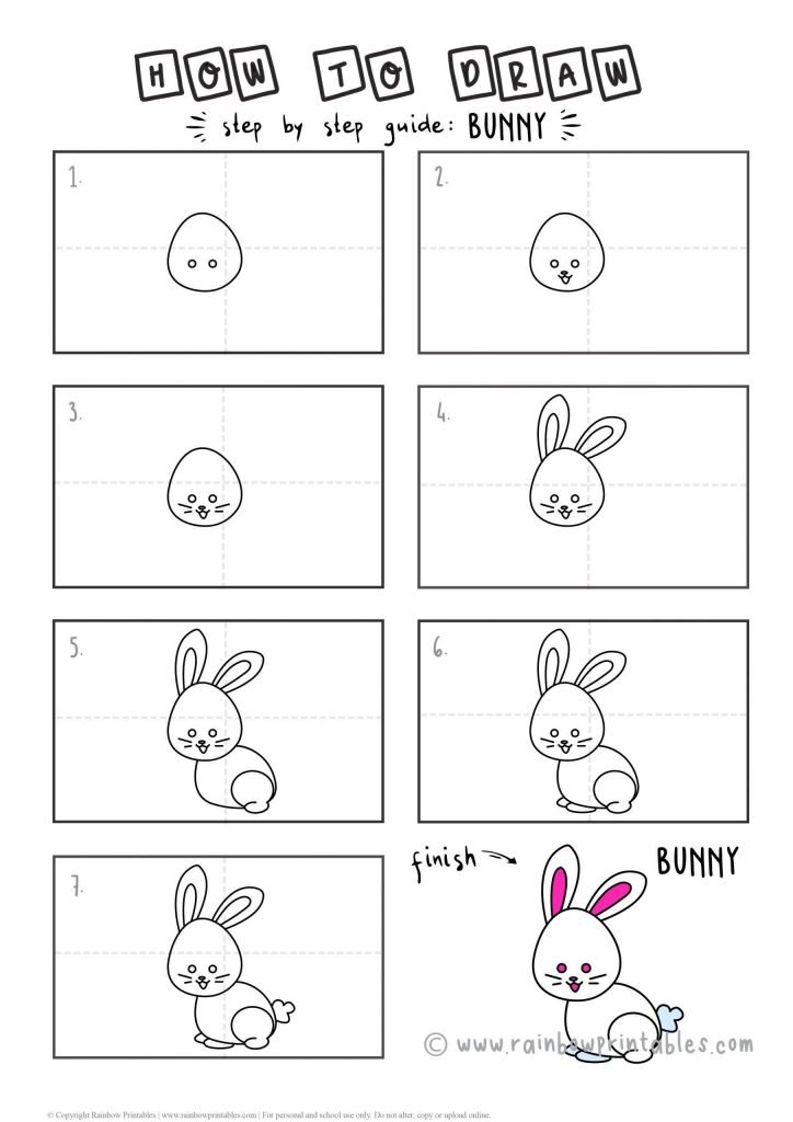 How To Draw a BUNNY RABBIT Step by Step for Beginners and Kids | Easy and Simple