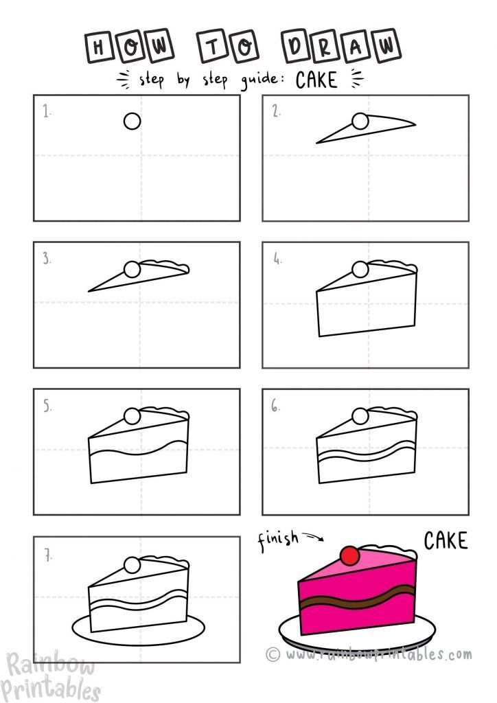 How To Draw a CAKE Step by Step for Beginners and Kids   Easy and Simple   Printable Drawing Worksheet