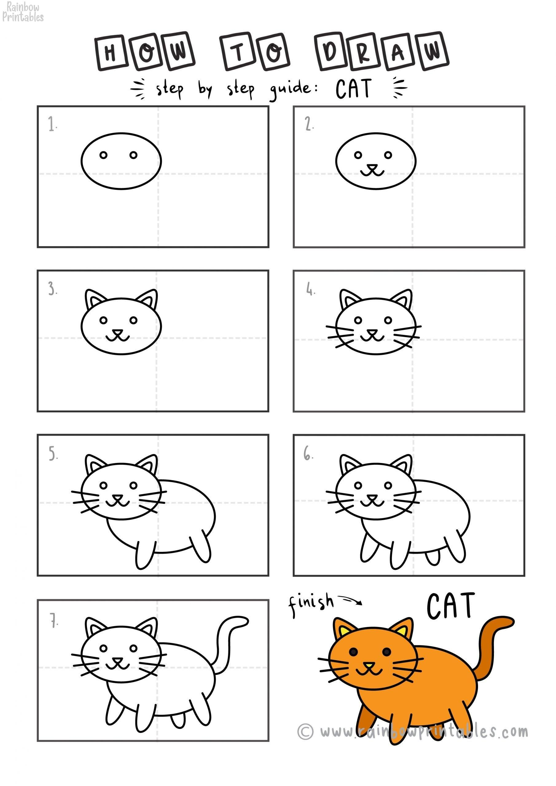 How To Draw A Very Easy Kitty Cat Simple 8 Step Guide For Kids Rainbow Printables It turns out the cats are very easy to draw while spending only 2 minutes with these easy cat drawing step by step tutorials. rainbow printables