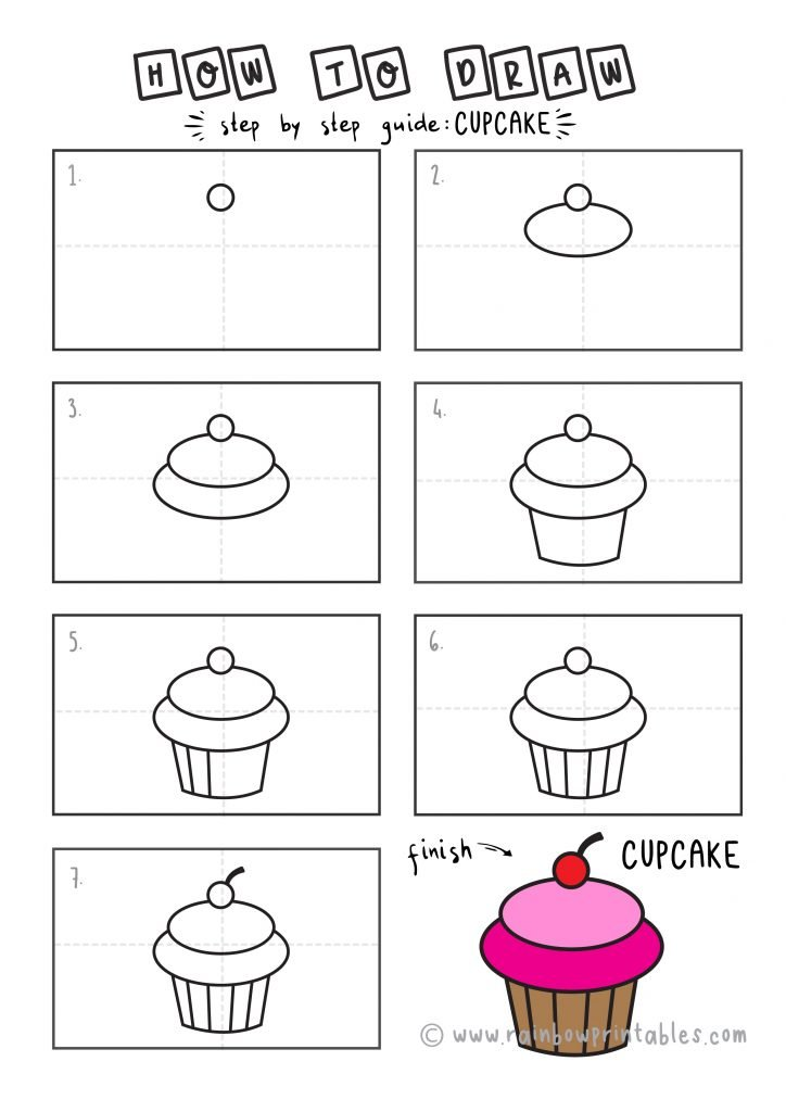 How To Draw a CUPCAKE Step by Step for Beginners and Kids   Easy and Simple   Printable Drawing Worksheet