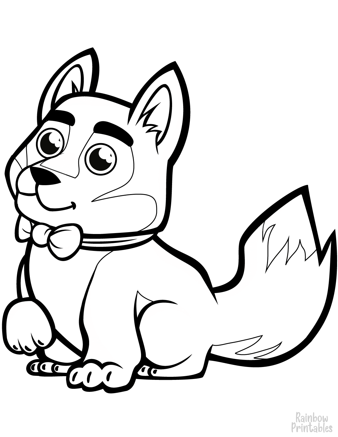 ADorable dog baby husky with a bowtie coloring page for little kids