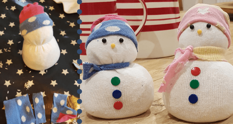 snowmen made with old socks and buttons