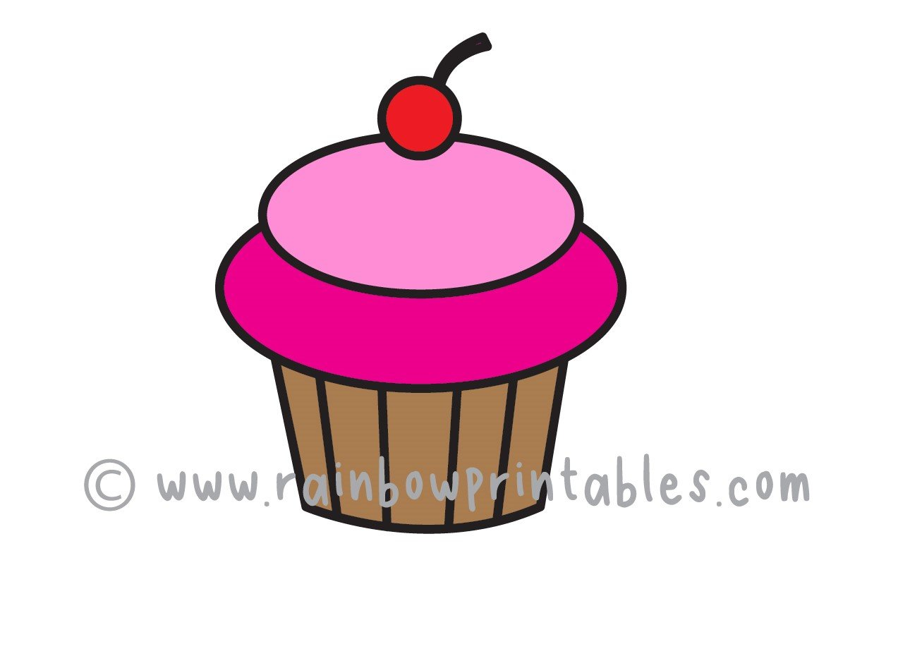 How To Draw a Simple Cartoon Cupcake for Kids