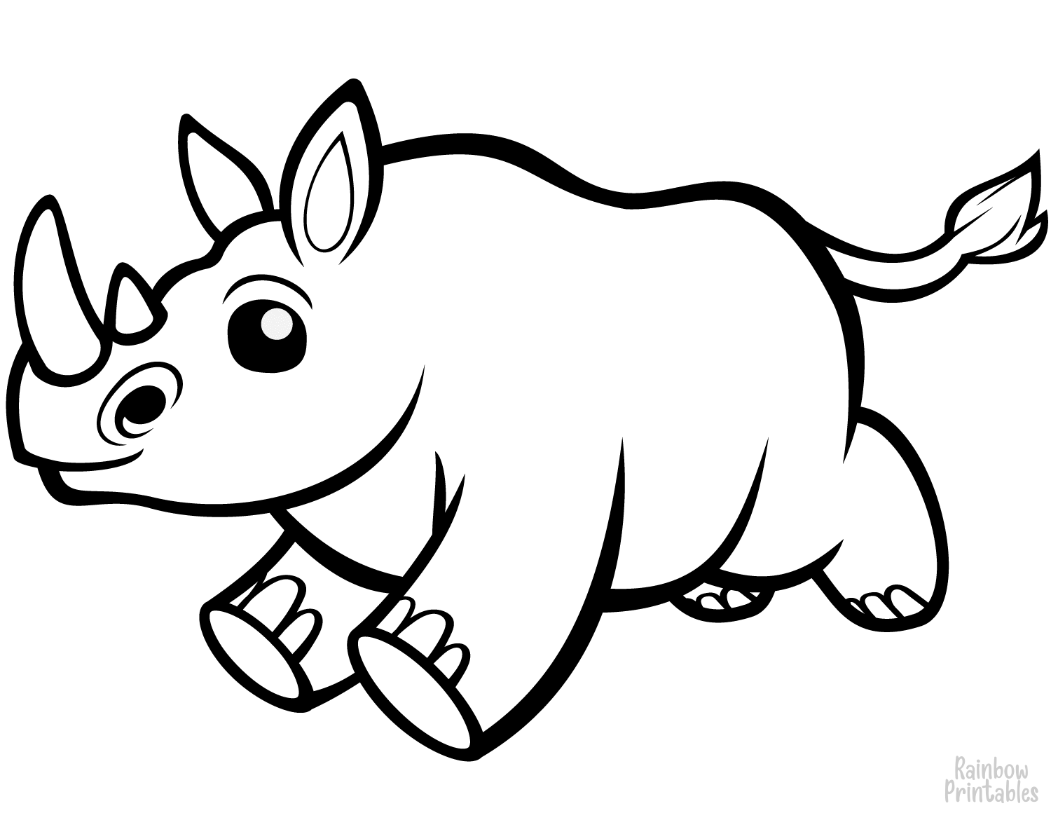 Cute boucy baby rhino coloring page for kids
