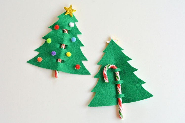 Candy cane and Christmas tree from felt paper