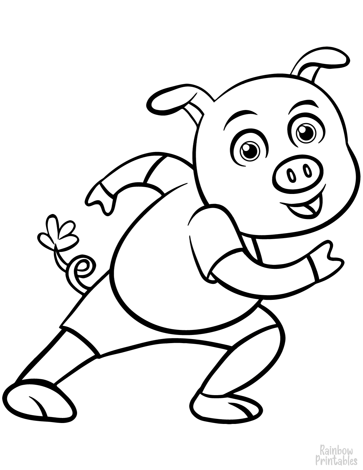 Drawing for kids pig coloring page
