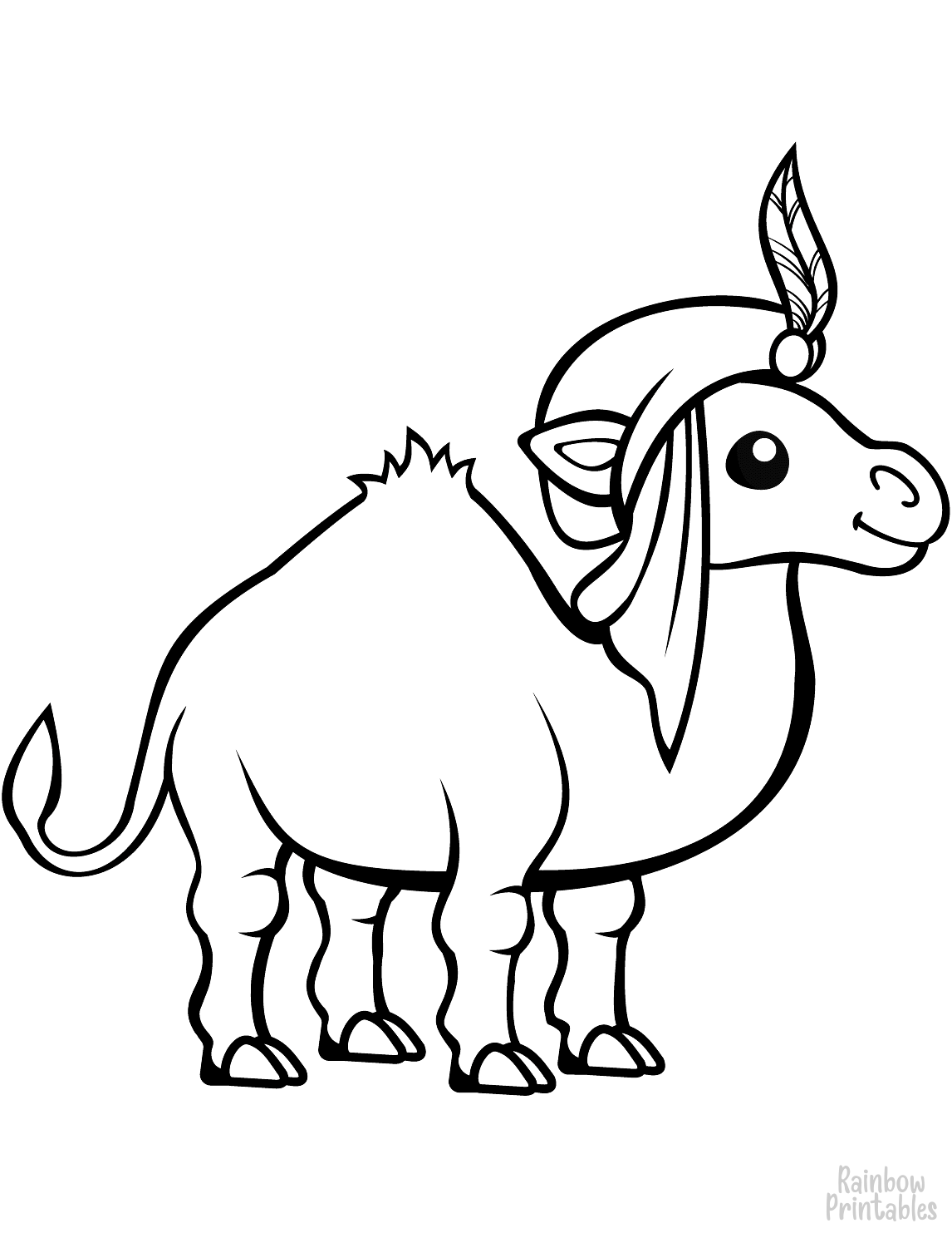 EASY funny camel in a turban coloring page