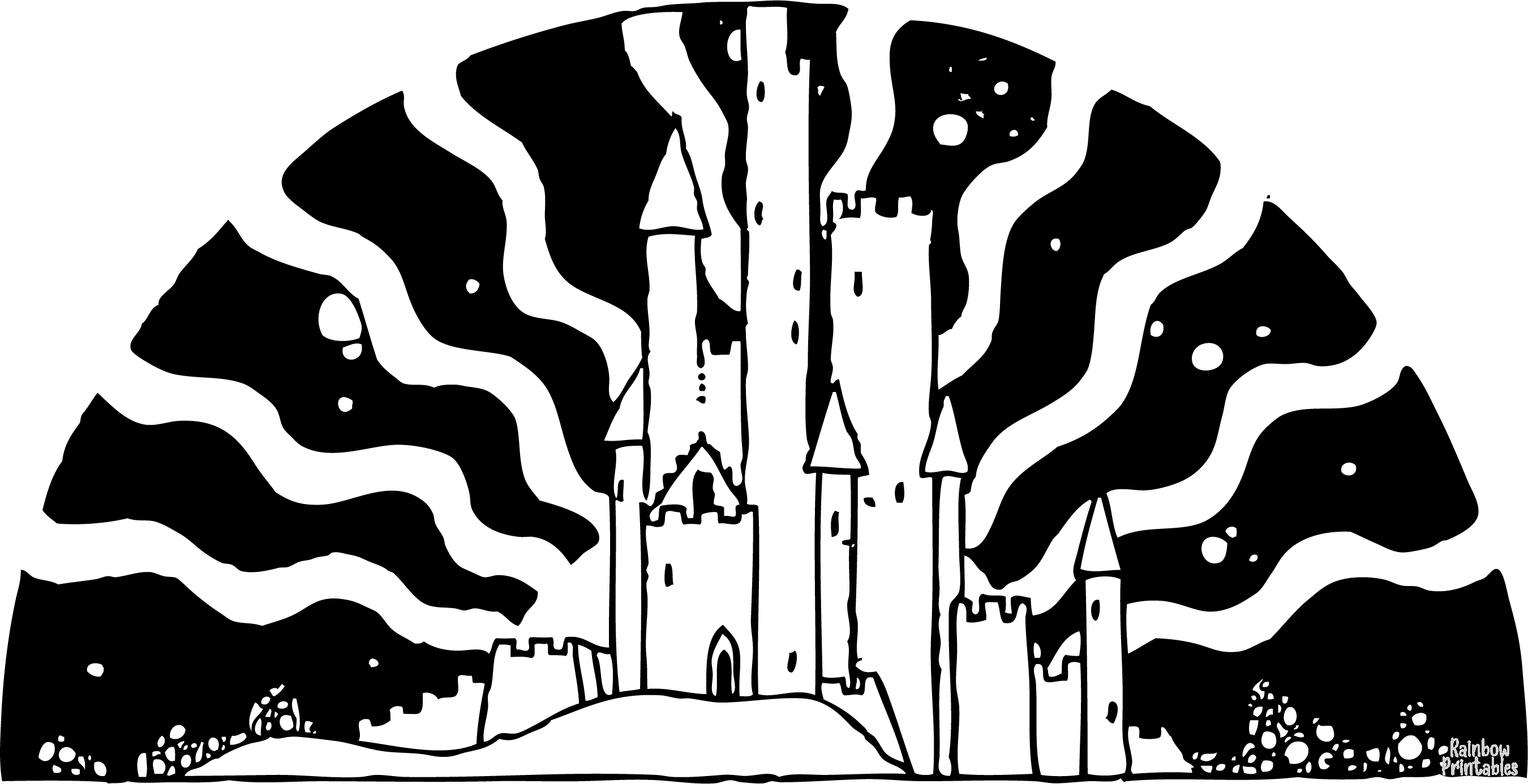 Coloring-Activity-Enchanted Castle Coloring Page for Kids