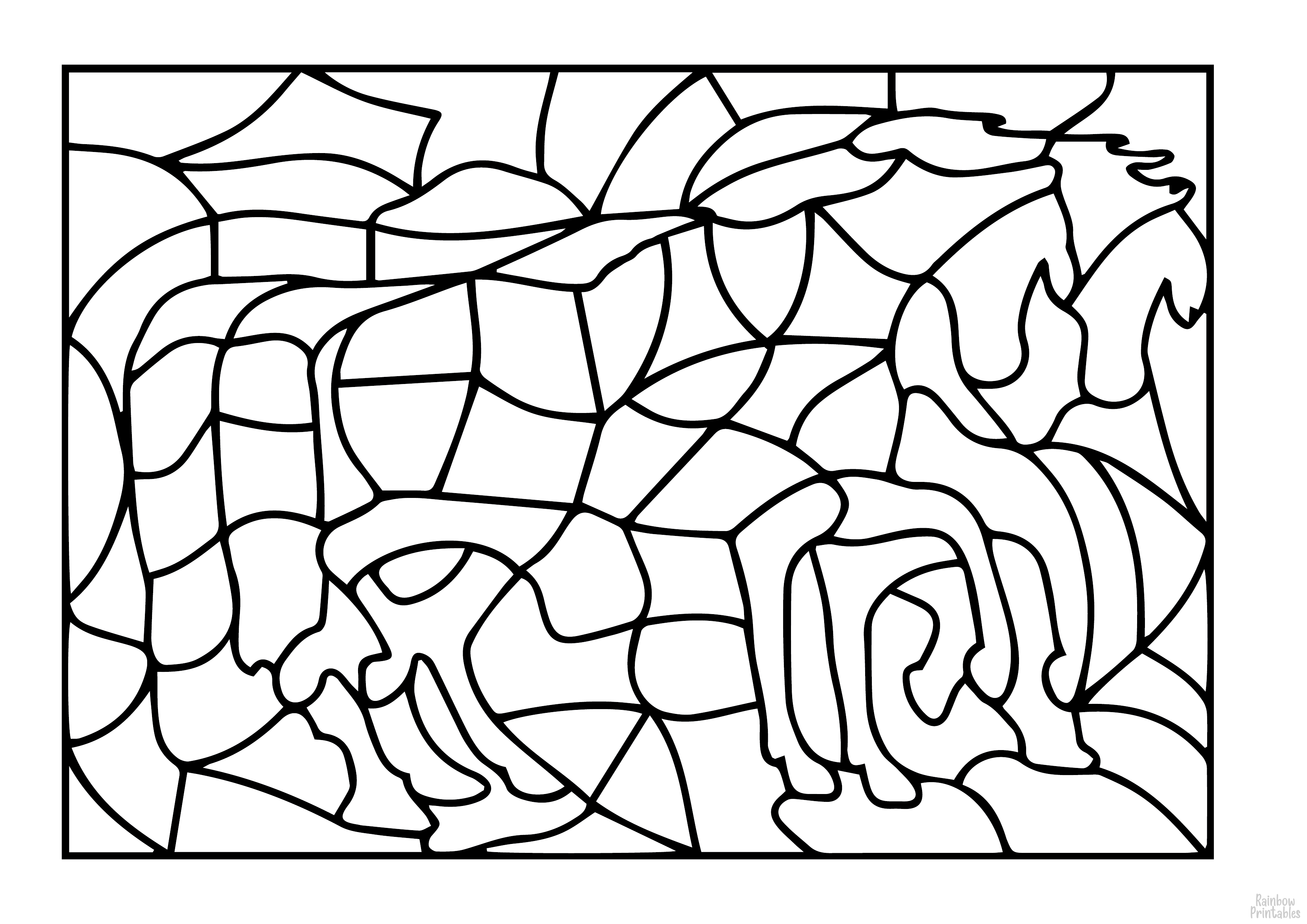 FREE HORSE PONY PUZZLE DIY GAME Free Clipart Coloring Pages for Kids Adults Art Activities Line Art-03