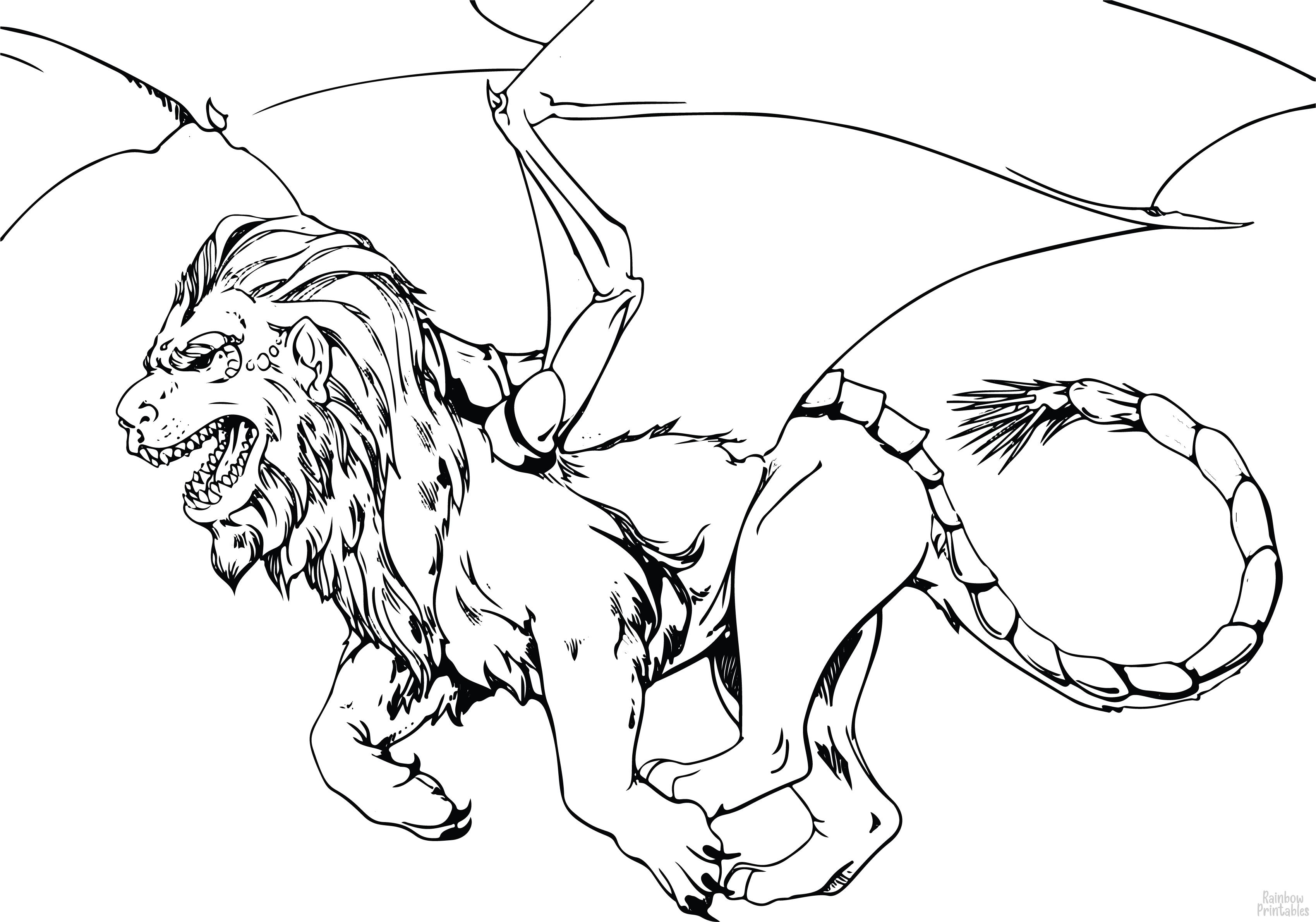 Fantasy Flying Bat Wing Demon Lion Myth Creature e1613173733118