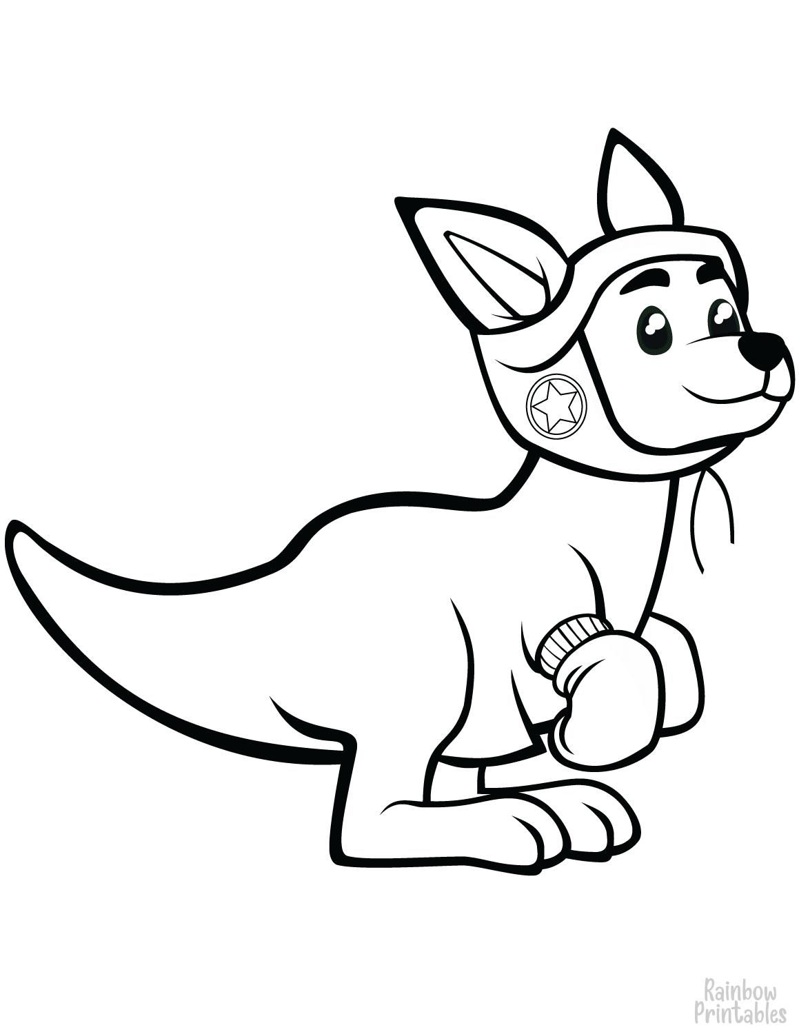 Free coloring sheet for kids kangaroo with boxing gloves coloring page
