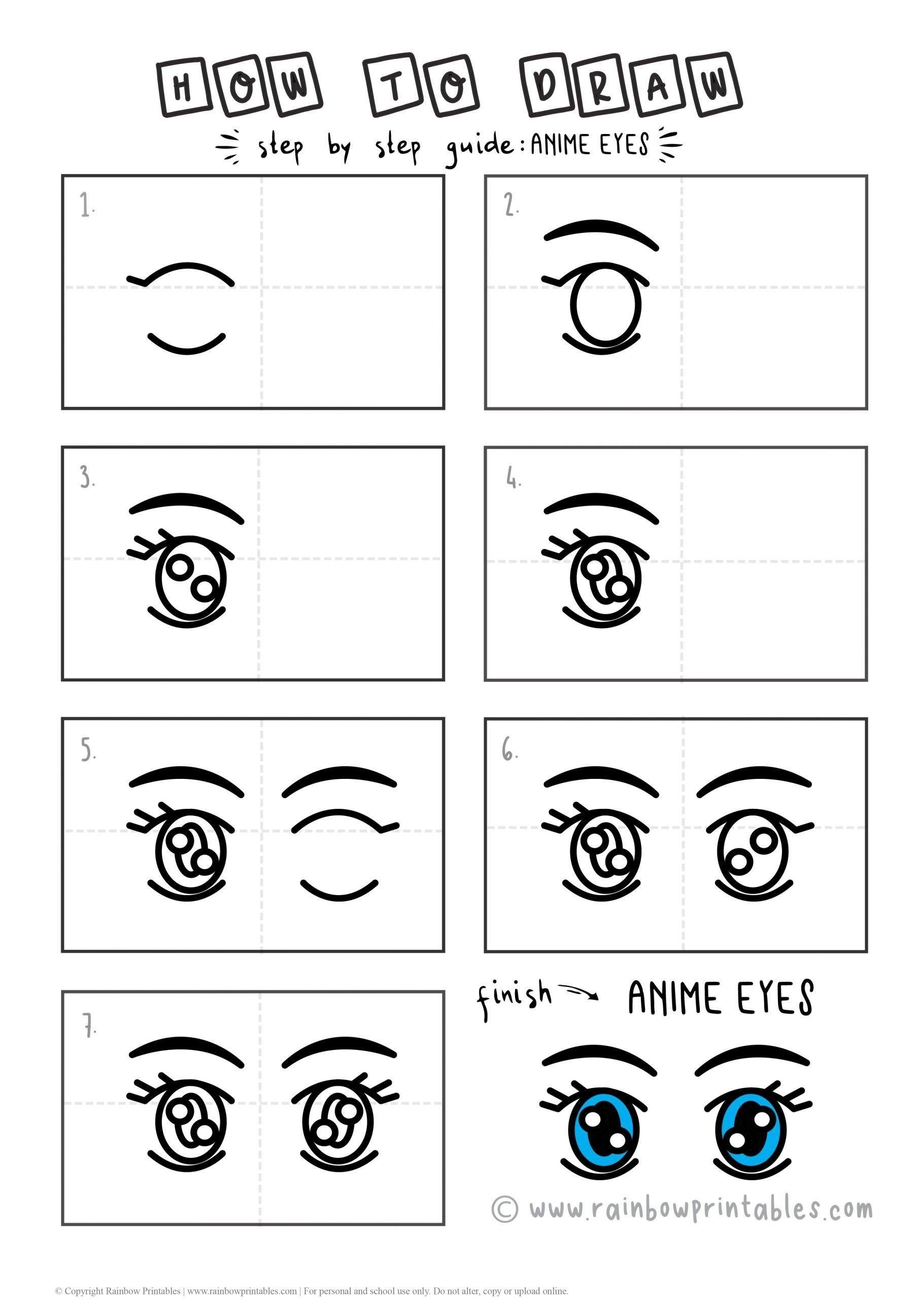 HOW TO DRAW ANIME EYES FOR KIDS - ART PROJECT STEP BY STEP EASY PRINTABLE ACTIVITY FREE DRAWING