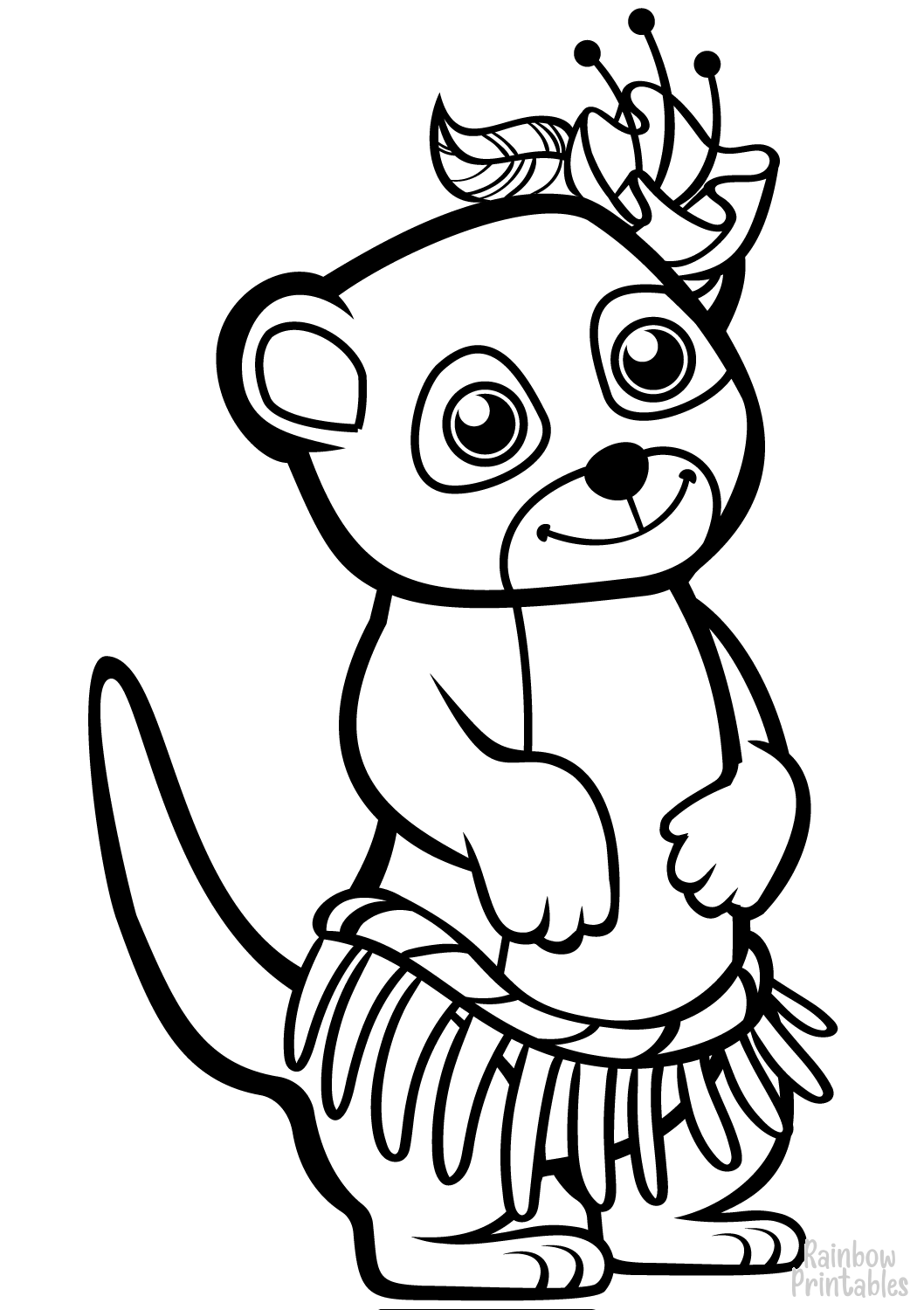 Hawaiian cute animals funny meerkat coloring page for kids