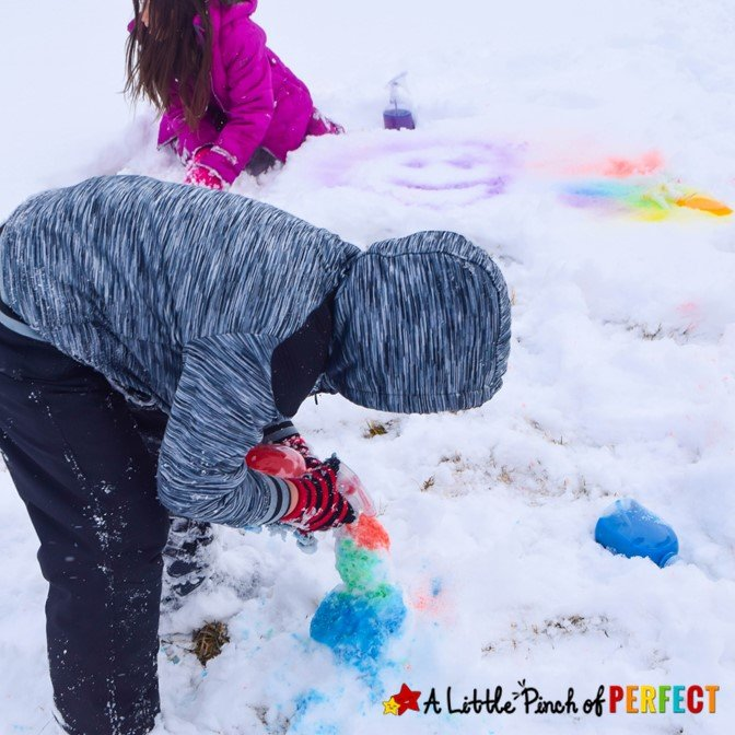 kids playing with snow
