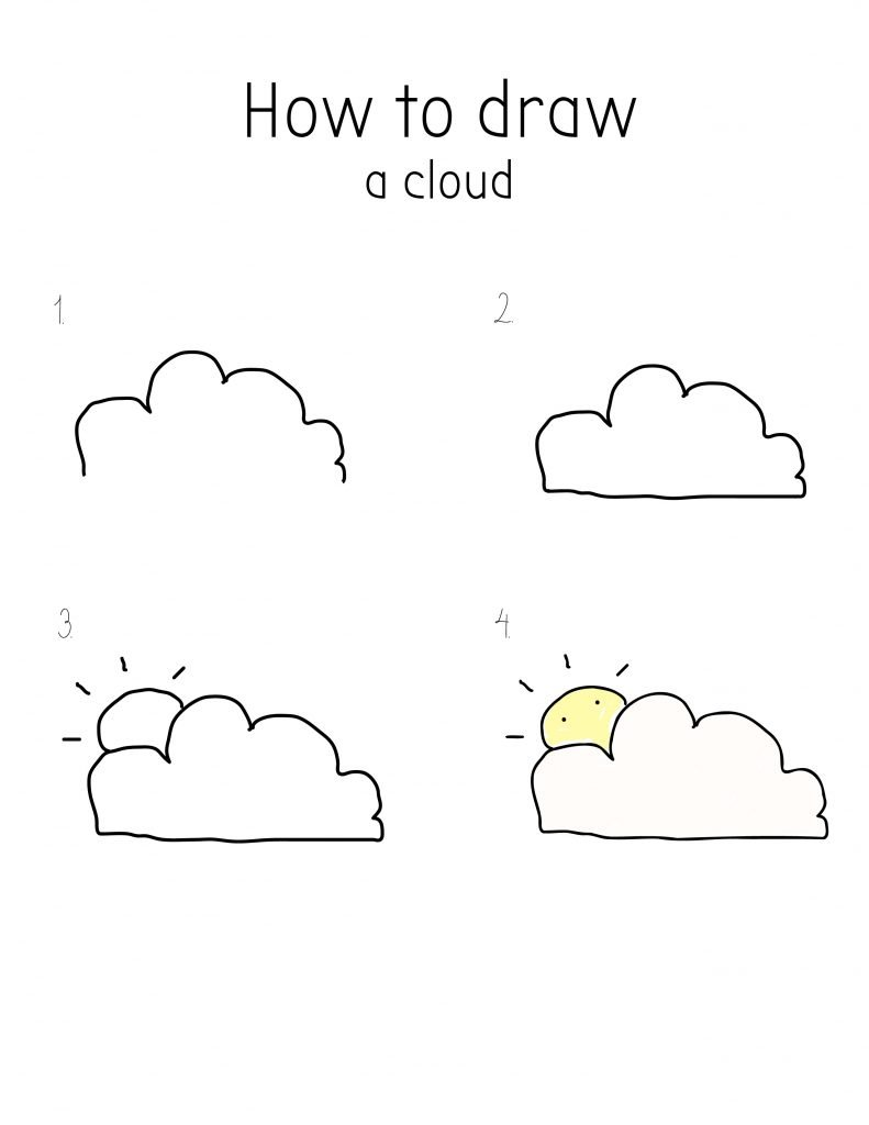 How to draw cloud-cute-chibi-cartoon-kawaii-style-with sun
