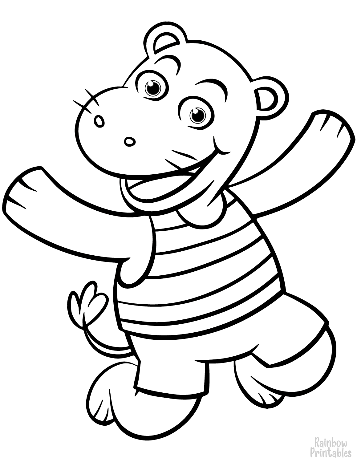Jumping happy doodle cartoon hippo coloring page for small kids