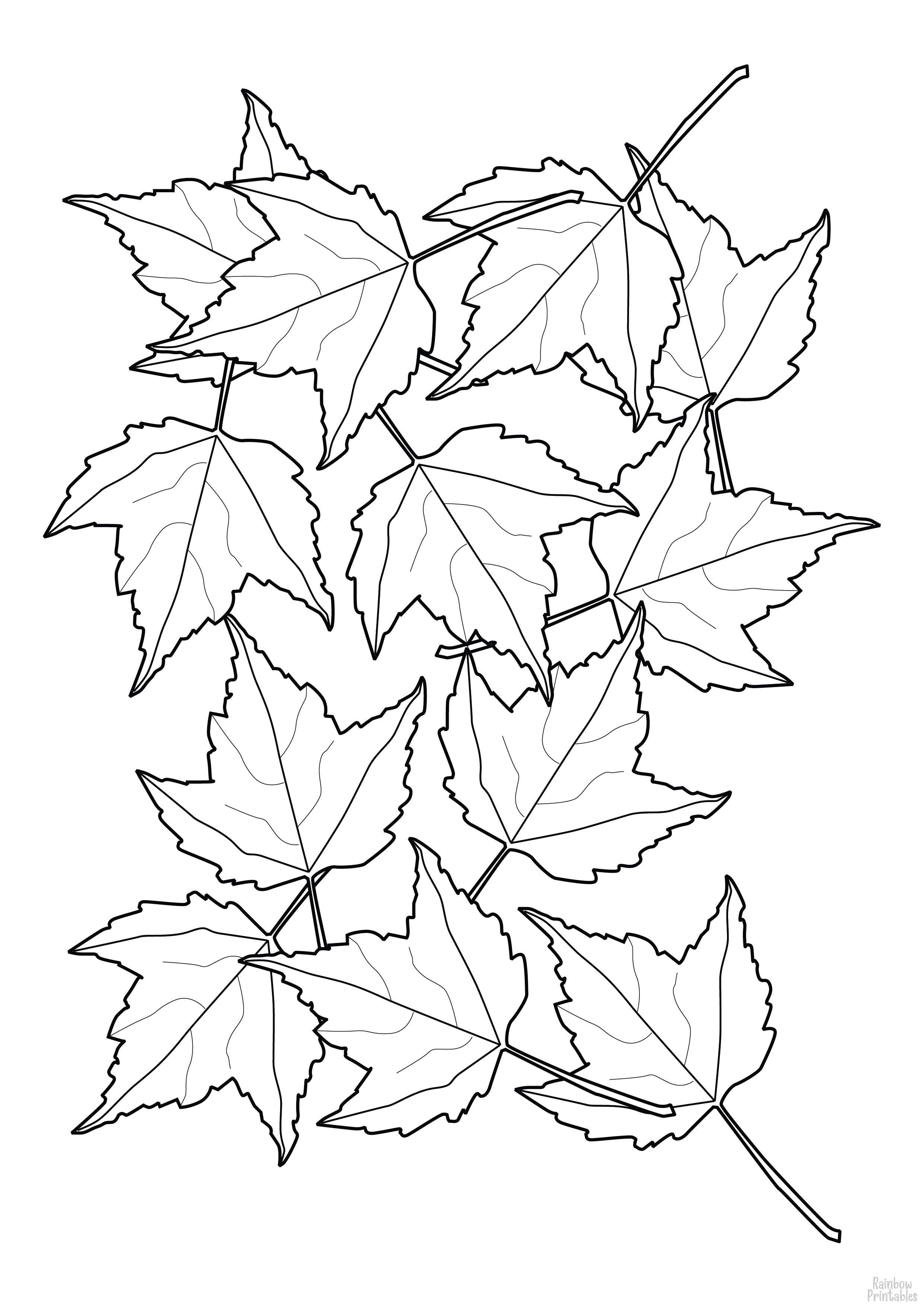 Line Drawing Fall Leaves-02 Coloring Pages for Kids Art Activities Ideas