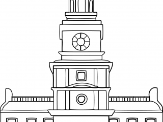 Line Drawing Independence_Hall Coloring Pages for Kids