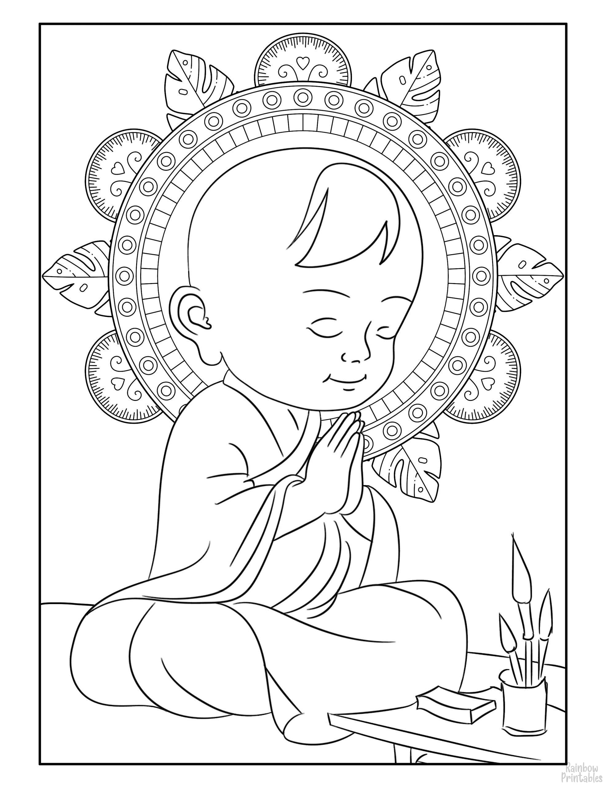 BUDDHIST LITTLE MONK BOY ASIAN Coloring Pages for Kids Adults Art Activities Line Art