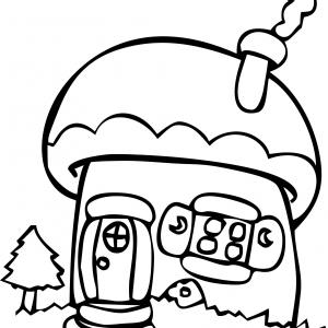 Whimsical Line Drawing Mushroom Cartoon Fantasy House Coloring Pages for Kids
