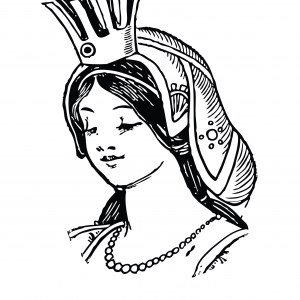 GRACEFUL QUEEN WITH CROWN Clipart Coloring Pages for Kids Art Activities Line Art