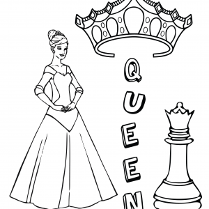QUEEN CROWN CHESS PIECE Free Clipart Coloring Pages for Kids Adults Art Activities Line Art