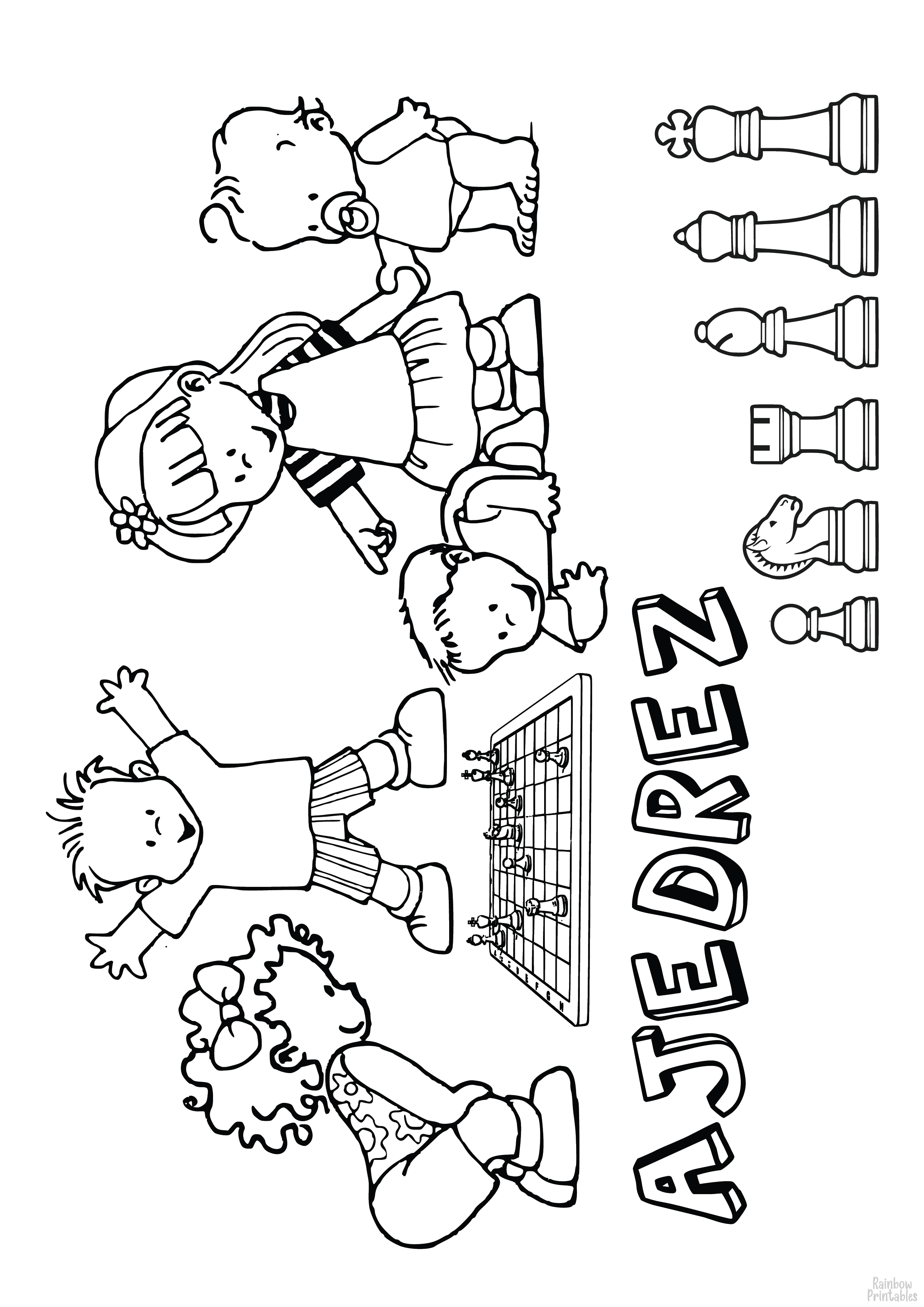 Kids Playing Chess People Free Clipart Coloring Pages for Kids Adults Art Activities Line Art-03