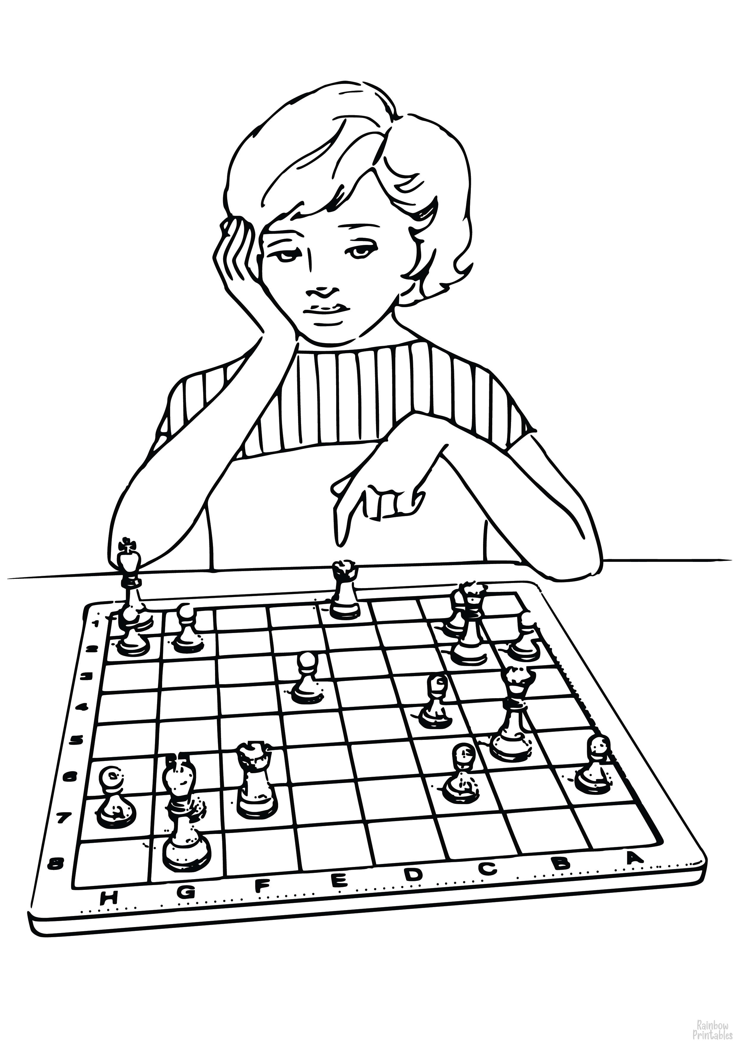 Woman Playing Chess Bored Cartoon Lady Clipart Coloring Pages for Kids Art Activities Line Art