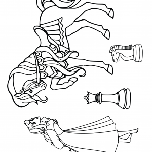 AURORA PRINCESS DISNEY CHESS PIECES Sleeping Beauty Horse Player Free Clipart Coloring Pages for Kids Adults Art Activities Line Art