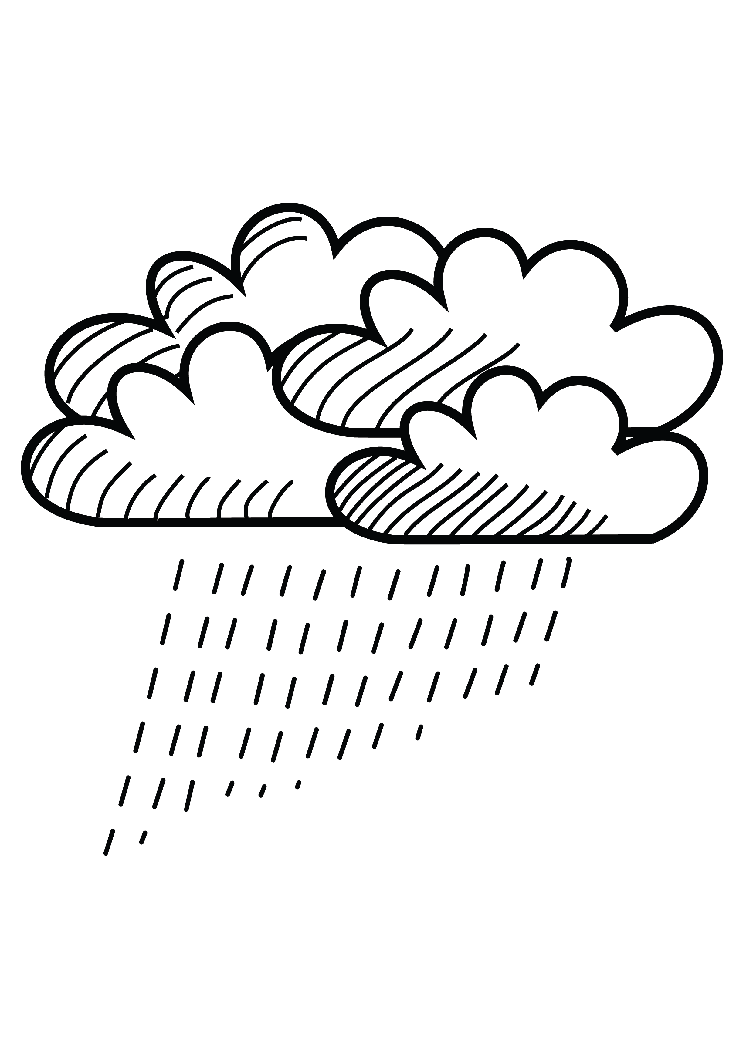 Rainy CLOUD Clipart Coloring Pages for Kids Adults Art Activities Line Art-