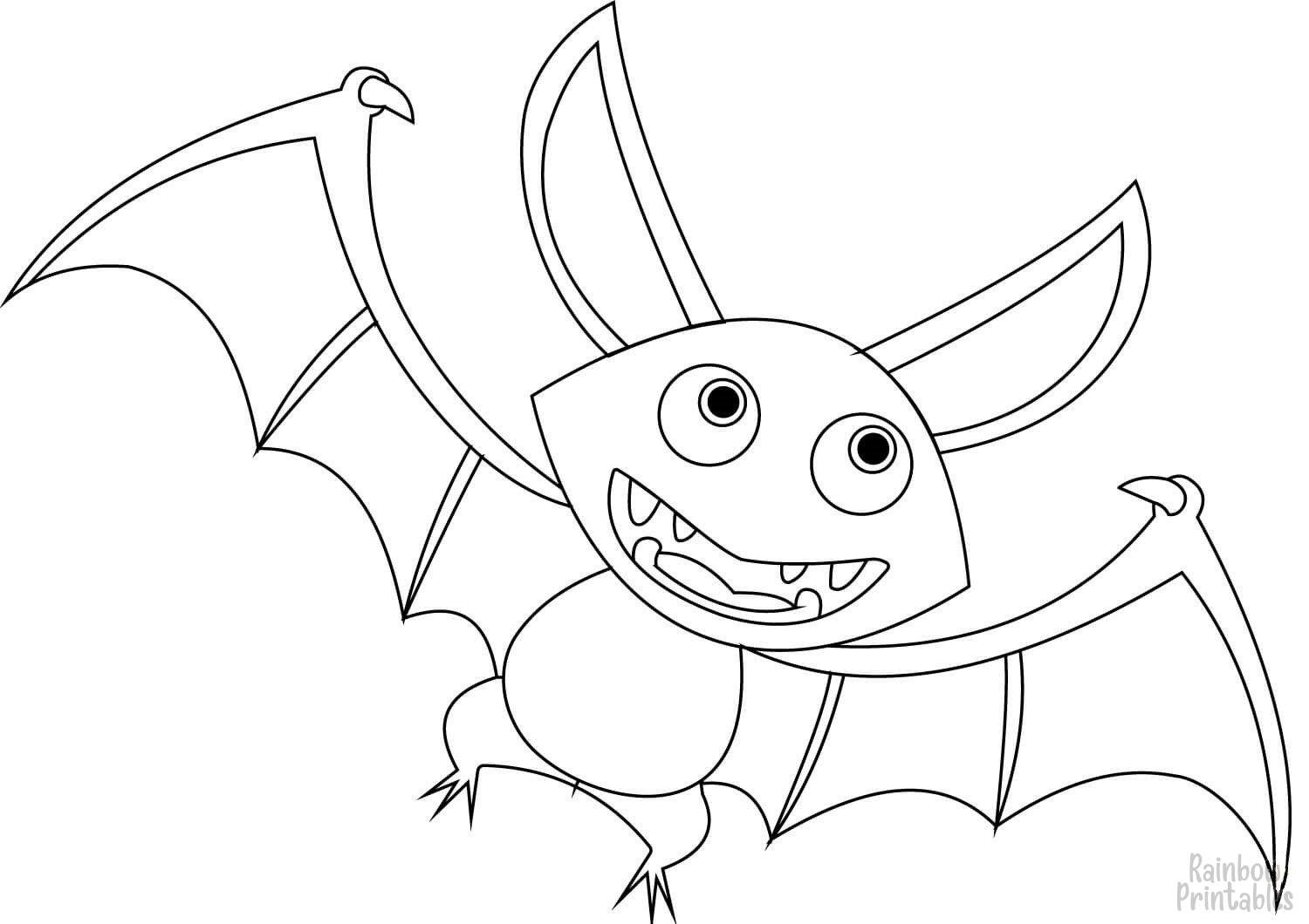 Simple Easy Color Animal Pages for Kids Cute playing bat coloring page