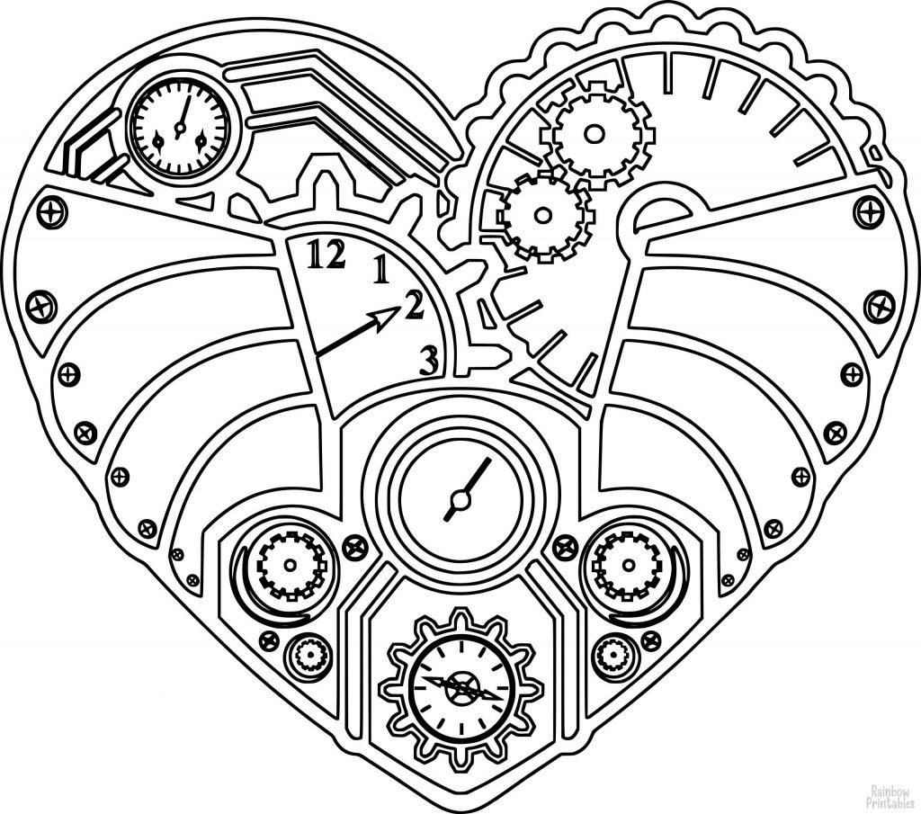 Valentine'sDay-Heart-Clock-Clipart Coloring Pages for Kids Adults Art Activities Line Art
