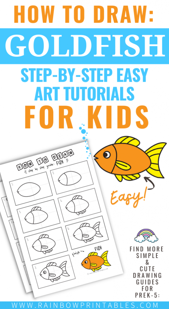 Need something to keep the kids busy but still learning? Check out our collection of how to draw art guides perfect for kindergartener to upper elementary. Learn how to draw without stress and at their own pace. #Art #HOWTODRAW #Goldfish #Art - Teaching How To Sketch, Color, How To Draw a Goldfish Elmos Dorothy For Kids, Art Tutorial Guides for Kids, Art Project Ideas for Children, Drawing Simple Cute Doodles for Preschool Elementary School Kids