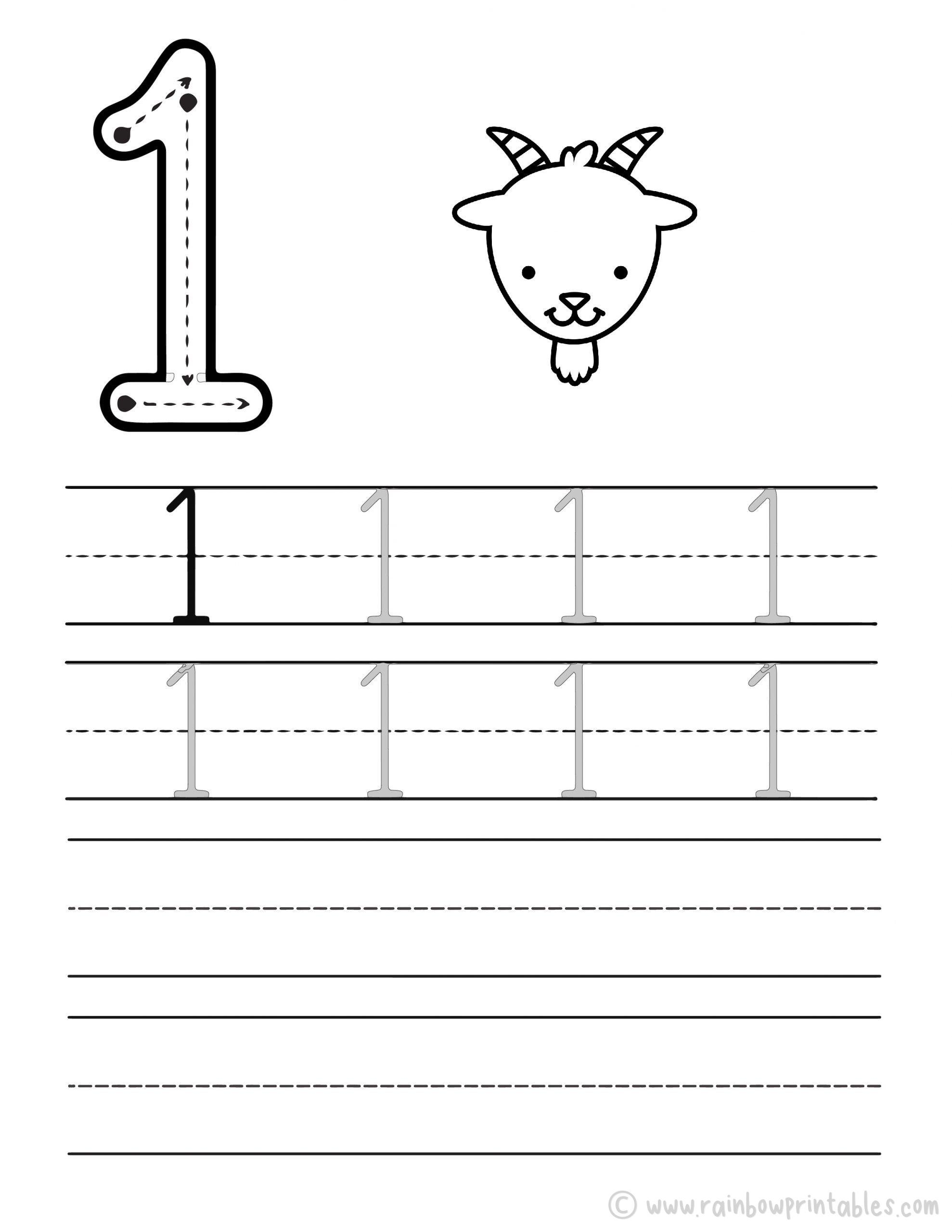 Trace Numbers Worksheet-ONE-1