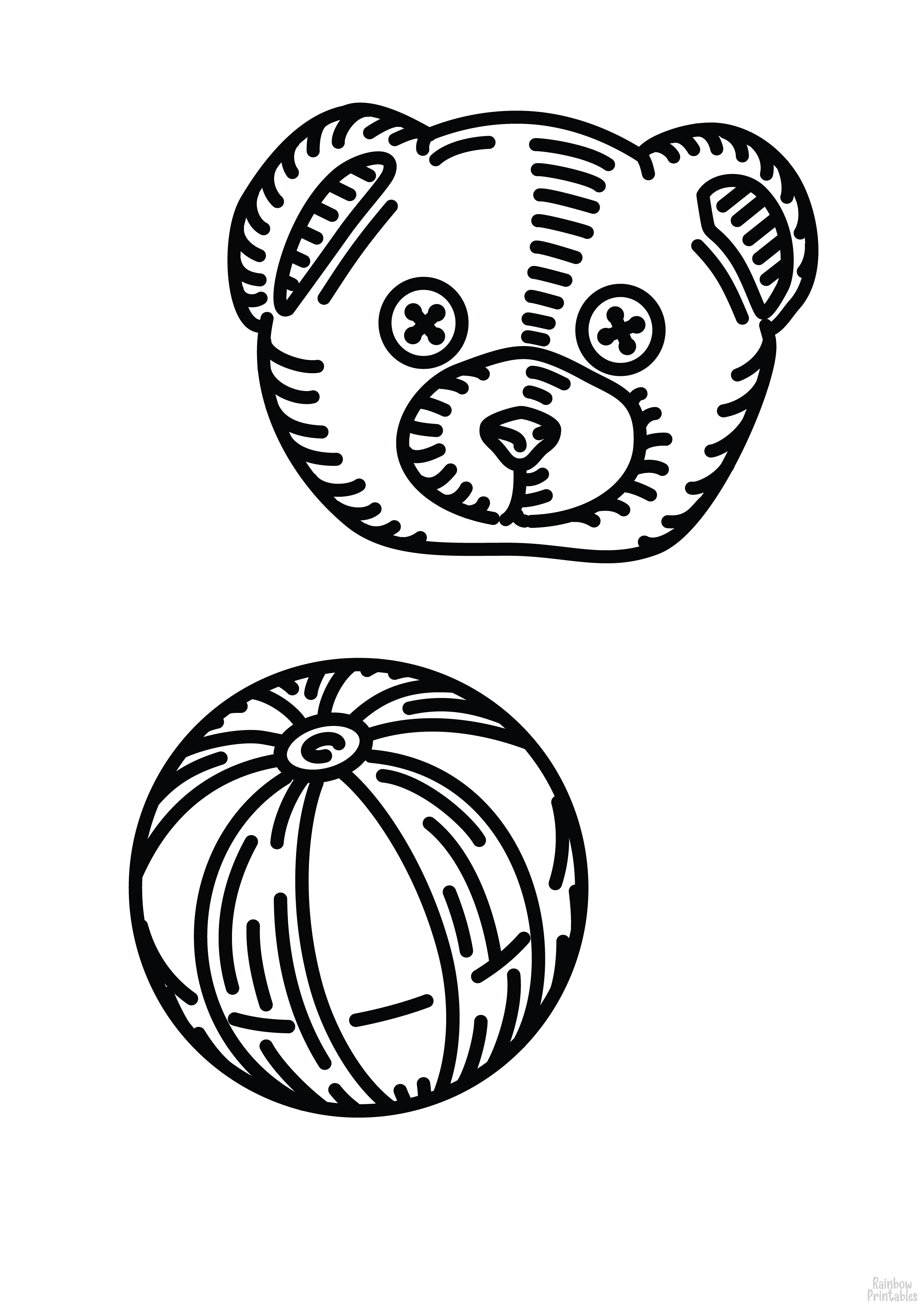Bear and Ball Clipart Coloring Pages for Kids Adults Art Activities Line Art