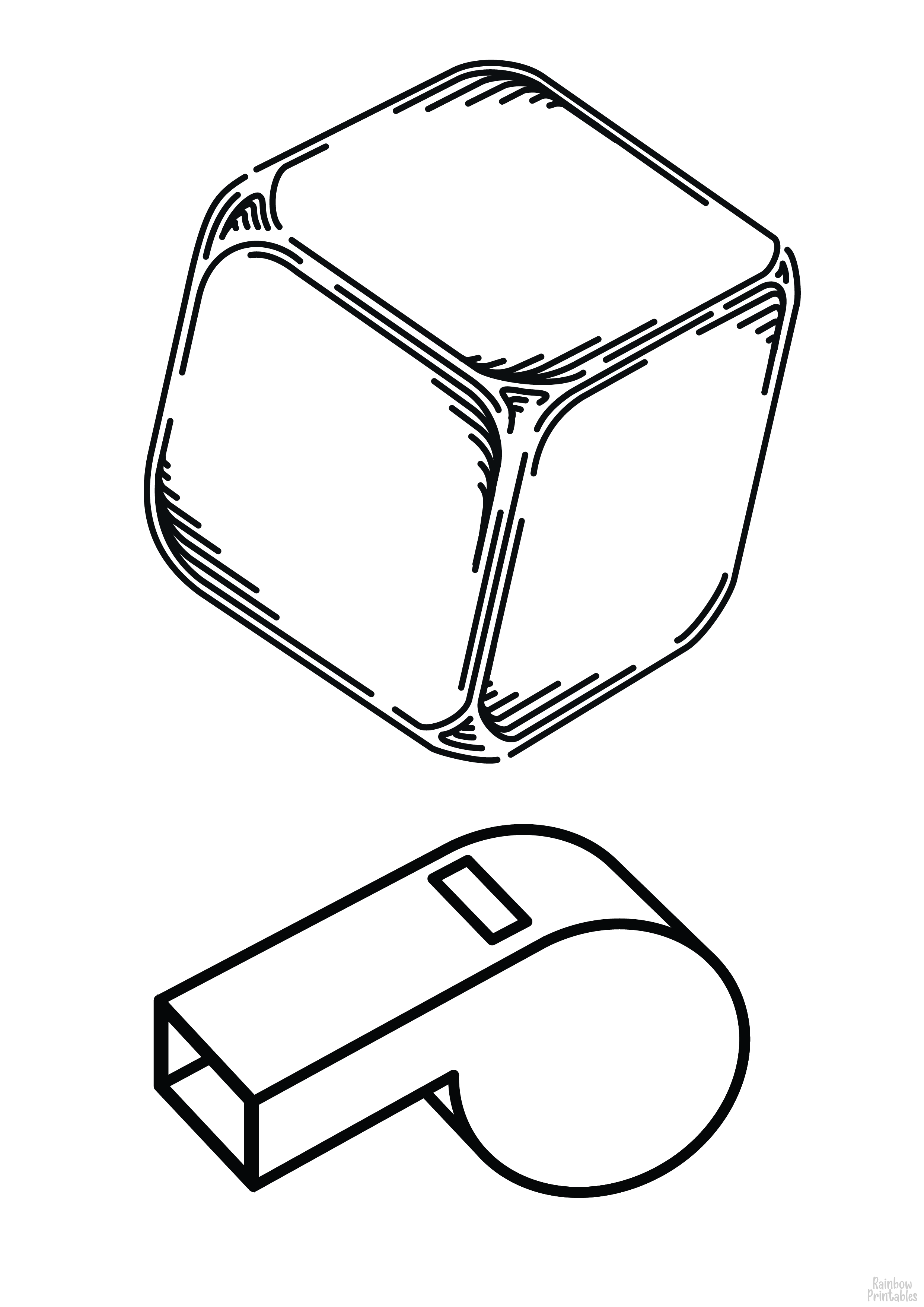 TOY CUBE AND TOY WHISTLE Clipart Coloring Pages for Kids Adults Art Activities Line Art