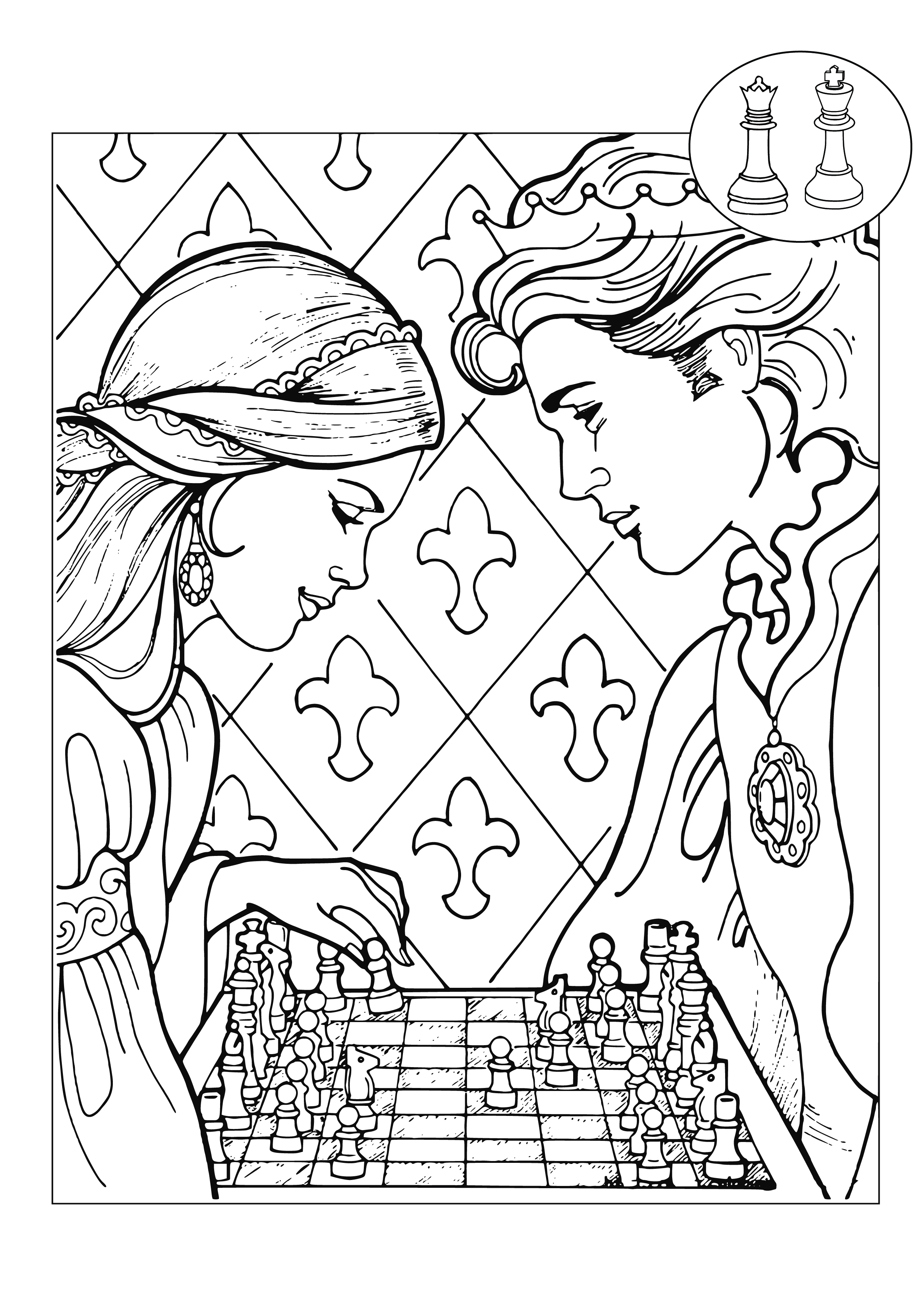 CHESS PIECES Coloring Pages for Kids Adults Art Activities Line Art Dama-y-Rey-jugando-ajedrez