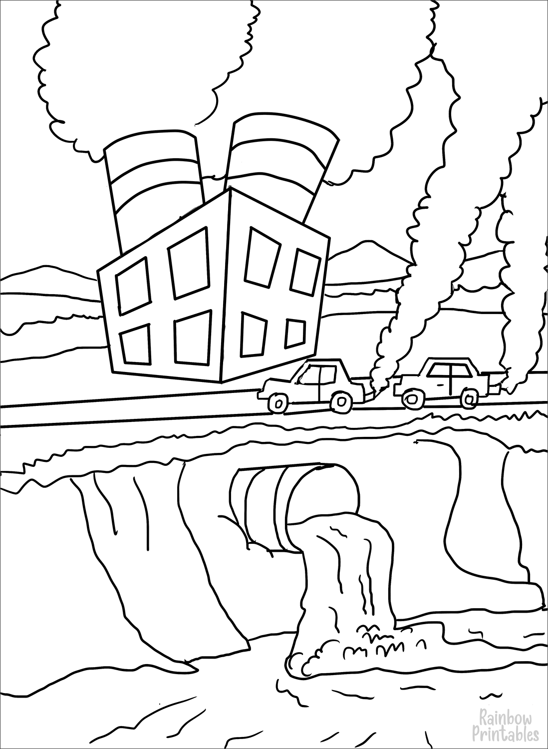 air-and-water-pollution-Clipart Coloring Pages for Kids Adults Art Activities Line Art