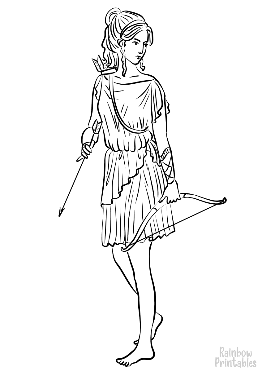 ARTEMIS Free Clipart Coloring Pages for Kids Adults Art Activities Line Art